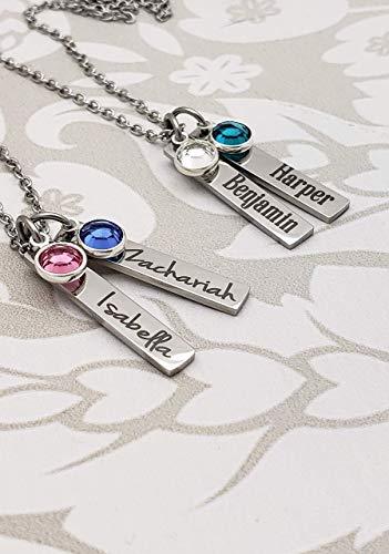 Personalized Birthstone Bar Necklace, grandmother's necklace, mother's necklace, Swarovski, name bars, gift for mom, grandkids, children
