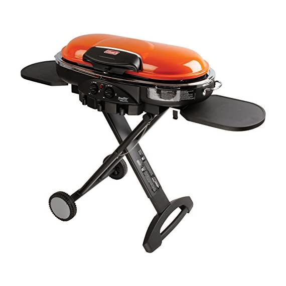 Coleman Propane Grill | RoadTrip LXE Portable Gas Grill 9 Perfect Flow Pressure Control System for steady heat, even in the cold Portable grill sets up in seconds East to transport, folds to compact size with large handle and wheels for easy pulling
