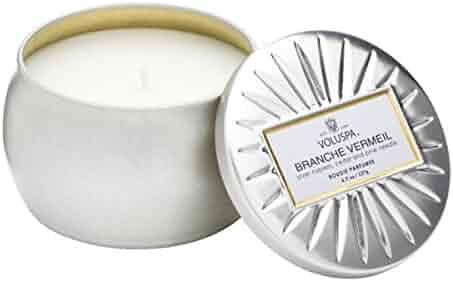 Voluspa Branche Vermeil Mini Decorative Tin Candle 4.5 oz