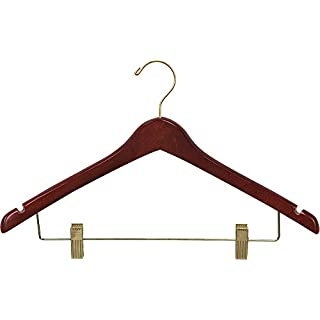 The Great American Hanger Company Curved Wood Combo Hanger w/Adjustable Cushion Clips, Box of 50 17 Inch Wooden Hangers w/Walnut Finish & Brass Swivel Hook & Notches for Shirt Jacket or Dress