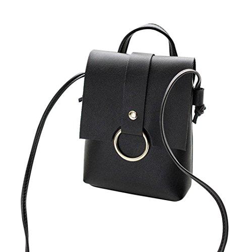 SALLYDREAM Anillo de Mujer de color Sólido Bolso Crossbody Bolsa de Mensajero Teléfono con Monedas Bolsa Roja Negro