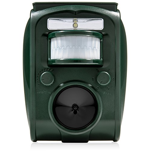 Hydobond Solar Ultrasonic Animal and Pest Repeller - Waterproof Outdoor Animal Sound Repellent- Solar Powered Battery with USB Included - Effective Against Cats, Skunks, Squirrels, Dogs, Deer etc