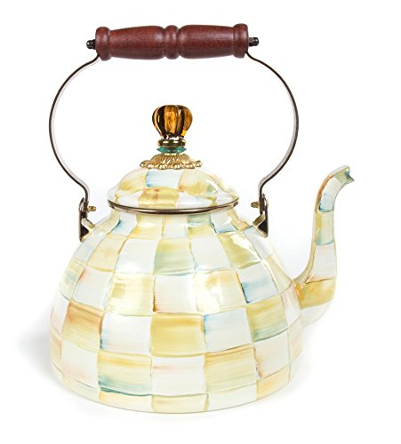 MacKenzie-Childs Parchment Check Enamel Tea Kettle 3 Quart