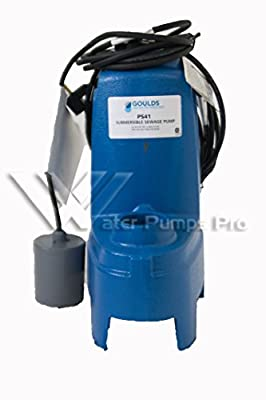 Goulds PS51P1F Submersible Sewage Pump, 1/2 HP, 1 PH, 115 V, 13 Max Amps, Piggyback Float Switch