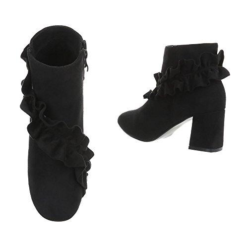 Ital-Design Women's Boots Kitten Heel Classic Ankle Boots Black I-4 xorrTB