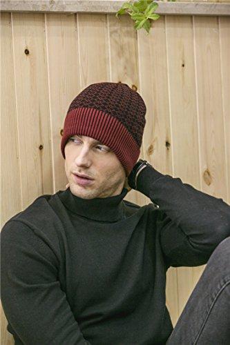 Diario BaronHong hombres Hat Skull Slouchy Jacquard los para caliente terciopelo Weave Beanie Rojo Cap wgqARgH