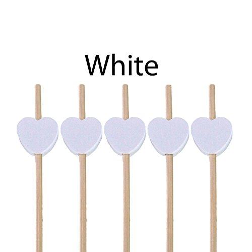 BambooMN 7.1'' Decorative White Heart Bamboo Cocktail Fruit Sandwich Picks Skewers for Catered Events, Holiday's, Restaurants or Buffets Party Supplies, 100 Pieces by BambooMN