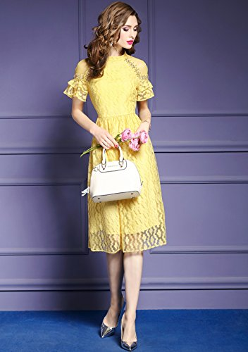 Color Women`s Lace Yellow Collared Dresses Solid Elegant Dress cotyledon F7qIdxq