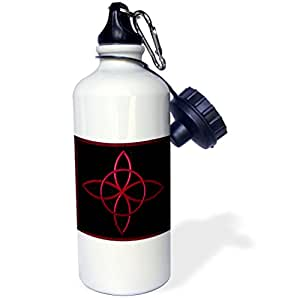 "3dRose wb_162097_1 ""A Celtic design knot in magenta"" Sports Water Bottle, 21 oz, White"
