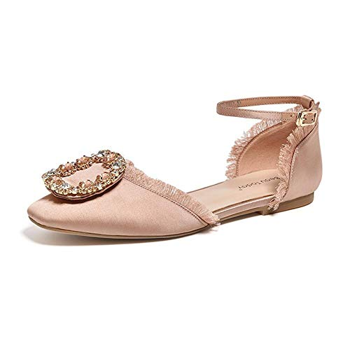 Beau Today Women's Satin Sandals Rhinestones Crystal Style Ankle Buckle Strap Closed Square Toe Cover Heel Comfort Flats Dress Shoes(6.5,Pink)