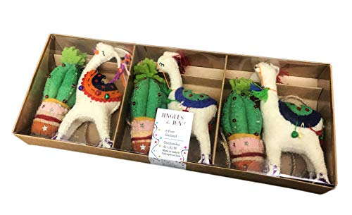 Jingles & Joy Whimsical Embellished Felt Llamas & Cacti 6 Foot Christmas Holiday Novelty Mantel Tree Garland -