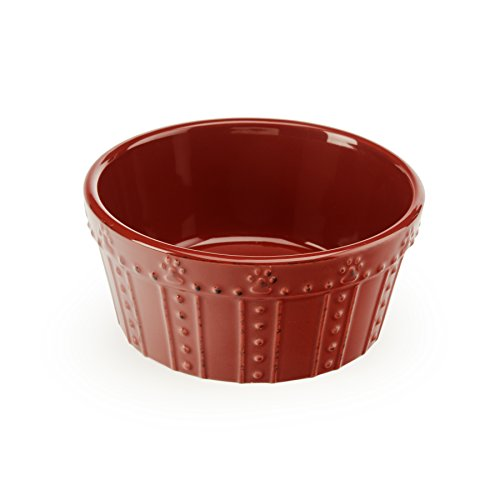Signature Housewares 3 Cup Embossed Paw Dog Bowl, 6