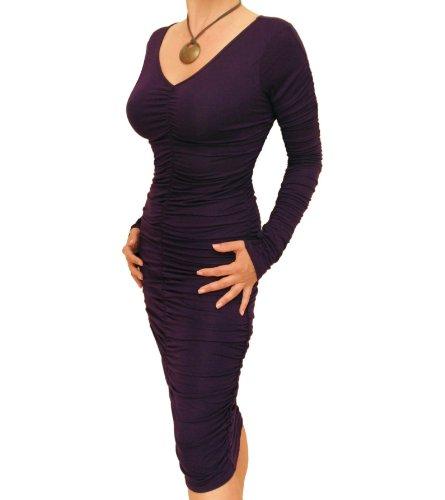 Kleid Violett Raffung Figurbetontes mit Blue Banana XqPOEE