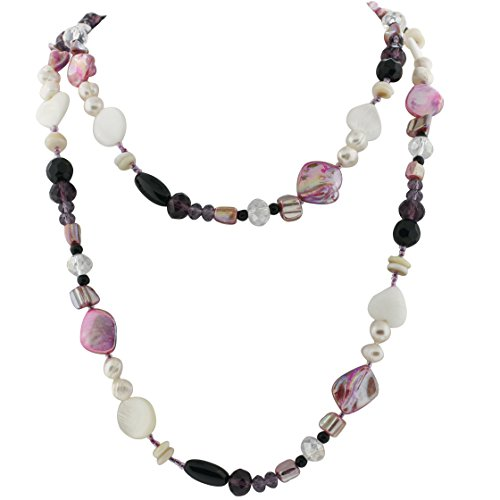 Ryssa Pearl & Color Sea Shell Necklace (Lite Pink & Purple (Pink Shell Pearl Necklace)