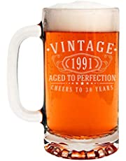 Vintage 1991 Etched 16oz Glass Beer Mug - 30th Birthday Aged to Perfection - 30 Years Old Gifts