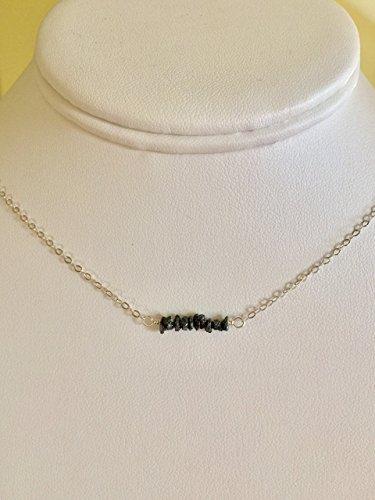 Rough Cut Diamond - Black Diamond Bar Necklace, Genuine Raw Diamond Nuggets, Luxe AAA Rough Cut Diamonds, Dainty Layering Necklace, MInimalist, Sterling Silver, Gold Fill