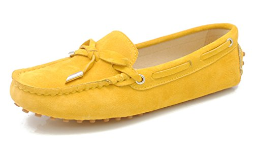 Minitoo - Mocasines para para mujer, estilo Casual, ante, con lazo amarillo