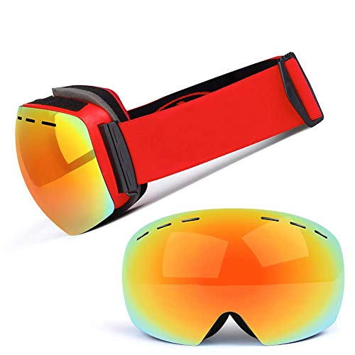 - Exquisite Goggles Ski Goggles, Double-Decker Anti-Fog Ski Glasses Motorcycle Goggles Adult Outdoor Anti-Fog Windproof Ball Surface Can Be Card Myopic Glasses (Color : D)