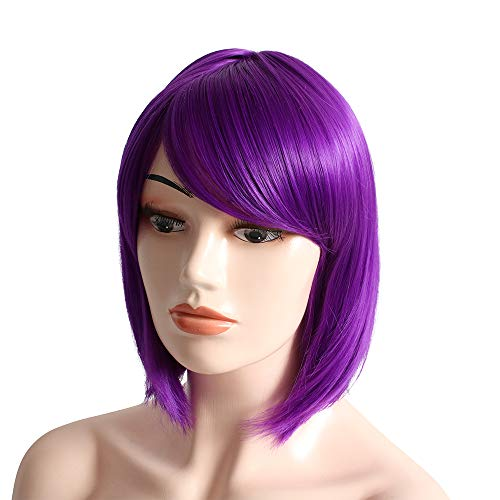 """Anime Short Straight Bob Wigs With Oblique Bang Hair Extensions Synthetic Cosplay Costume Party Daily For Women (12"""" Purple)"""