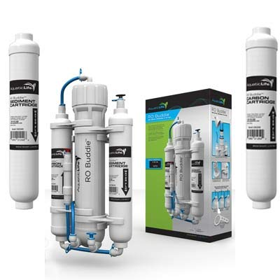 - AQUATICLIFE RO Buddie 100 GPD Reverse Osmosis System with Replacement Carbon & Sediment Cartridges Package