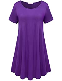 Womens Comfy Swing Tunic Short Sleeve Solid T-Shirt Dress