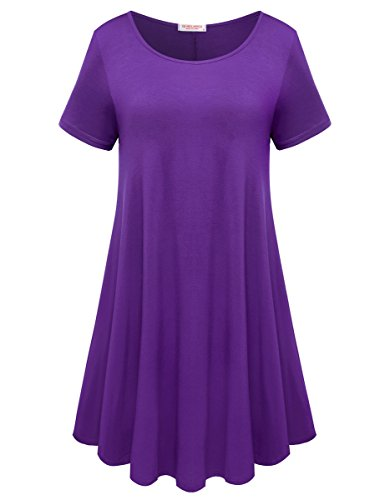BELAROI-Womens-Comfy-Swing-Tunic-Short-Sleeve-Solid-T-shirt-Dress