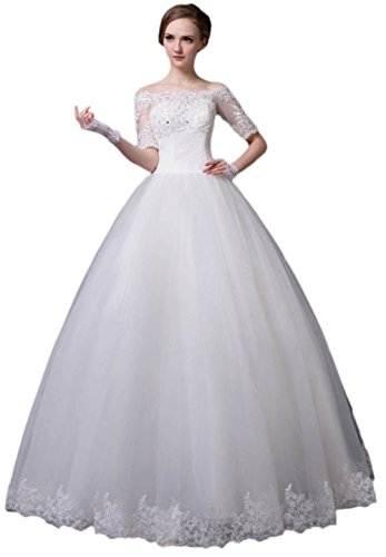 BessWedding Women's Off Shoulder Ball Gown Wedding Dress Lace Bridesmaid Gown by BessWedding