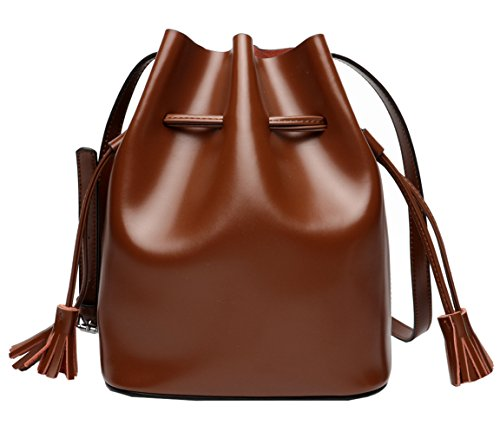 Leather Saierlong Brown Shoulder Woman Bag Genuine New Brown 80H0wP5q