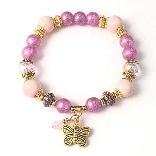 Handmade Beaded Stretch Bracelet~Pink & Purple Butterfly~Swarovski Crystal