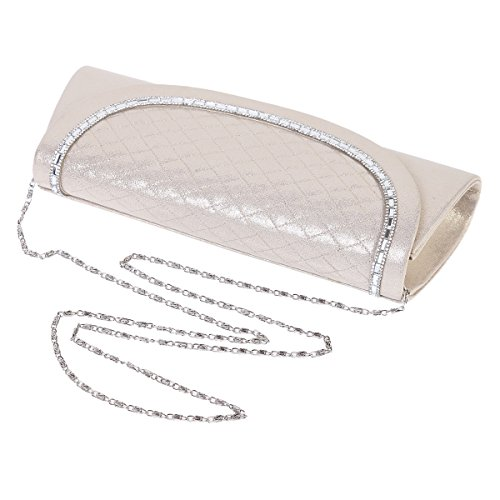 Shiny Large Evening Bag Womens Purse Gold Light Textured Damara Quilted Clutch SFxPwCBq