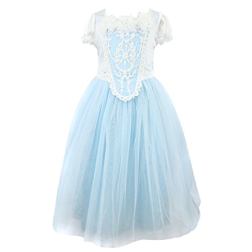 Acediscoball Big Girls' Costume Cosplay Princess Party Fancy Dress Size 8 US Blue ()