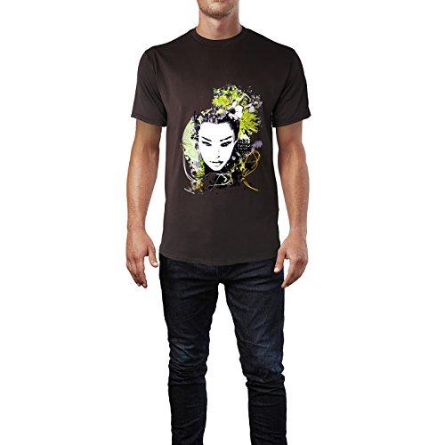 SINUS ART® Abstrakter Print Frau mit Blumen Herren T-Shirts in Schokolade braun Fun Shirt mit tollen Aufdruck