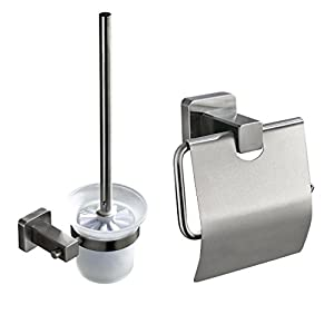 ROVATE Brushed Nickel Toilet Brushe and Holder Set - Wall-Mounted Toilet Paper Roll Holder, Bristle Toilet Cleaner Brush and Frosted Glass Cup Holder Kit
