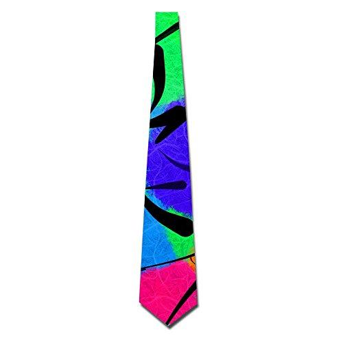 Abstract Pattern Colorful Watercolor Men's Classic Silk Wide Tie Necktie (8 CM)