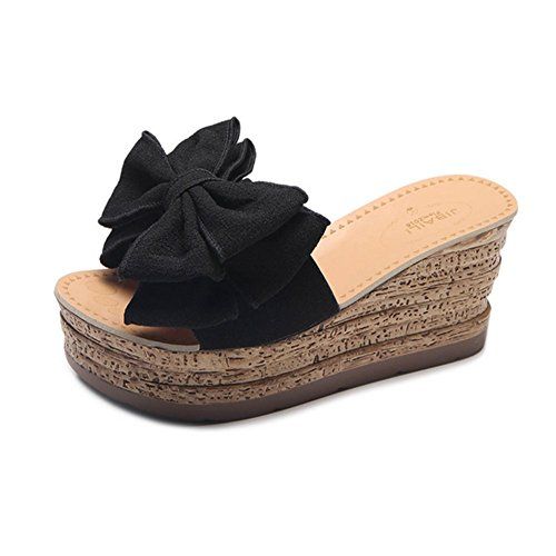 Crust Slippers Beige Summer With Sandals Black With Sexy High Bow And Heeled Thick Flops Flip 37 Knot Slope gq58B