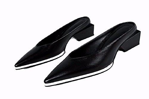 Señora Puntiagudas Gtvernh sandalias Frío Mujer Mitad De Plana Perezoso Zapatos Zapatos Zapatillas Remolque Semi Black Cuero AqrwXqI