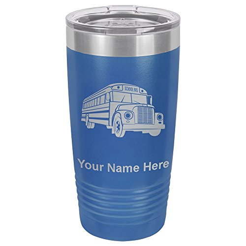 (20oz Tumbler Mug, School Bus, Personalized Engraving Included (Dark Blue))