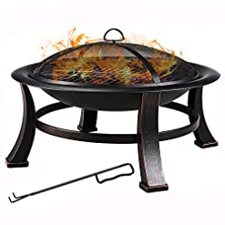 Fire Pits FEMOR 30-Inch Fire Bowl Backyard Fire Pit with Mesh Screen Cover, BBQ Grill, Log Grate, Firepit Poker, Waterproof Cover… firepits