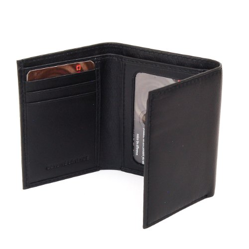 Alpine Swiss Men's Leather Trifold Wallet - Soft Superb Quality Lamb Skin Leather - Black Comes in a Gift Bag.