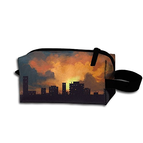 Makeup Cosmetic Bag City Pattern Medicine Bag Zip Travel Portable Storage Pouch For Mens Womens ()