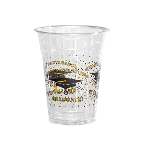Party Essentials SD162094 Soft Plastic Printed Party Cups, 20-Count, 16-Ounce, Graduation