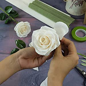 White Paper Rose Handmade Realistic Artificial Rose from Crepe Paper Perfect Paper Gift for Christmas,Wedding Anniversary, Valentine's Day, Mother's Days, Single Long Stem, 01 Flower 5