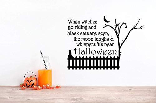 32x24 When Witches Go Riding Black Cats are Seen The Moom Laughs and Whispers Tis Near Halloween Spooky Tree Wall Decal Sticker -
