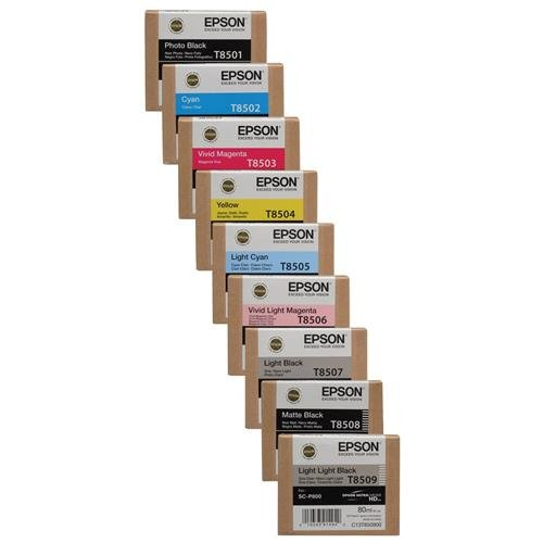 Epson T850 Ultrachrome HD Ink Bundle for the SureColor P800 Inkjet Printer, Consists of Photo Black, Cyan, Vivid Mageta, Yellow, Light Cyan, Light Mageta, Light Black, Matte Black, Light Light Black