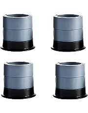 Anti-vibratie mat trillingsdemper, 4 pads + 8 niveaus - wasmachine & droger basis, verstelbare rubberen voetzool, trillingsdempende pads, anti-loop voetzool (grijs, 7cm)