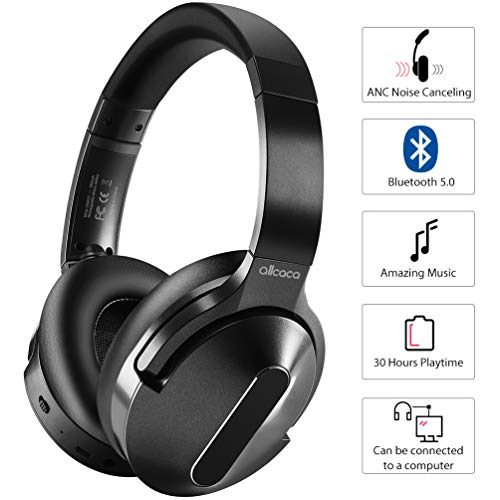 Active Noise Cancelling Headphones, ALLCACA Wireless Headphones Over Ear with Mic Deep Bass 30 Hrs Playtime Hi-Fi Sound…