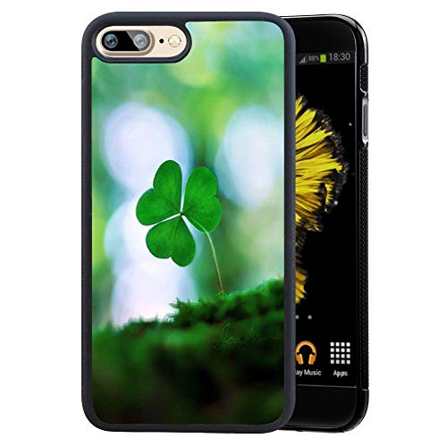 iPhone 7 Plus 8 Plus Case, Shamrock Soft Black TPU Rubber and PC Anti-Slip Grip Cover Case, Shockproof Defend Protective Phone Case for iPhone 7 Plus 8 Plus (Shamrock Phone Case)