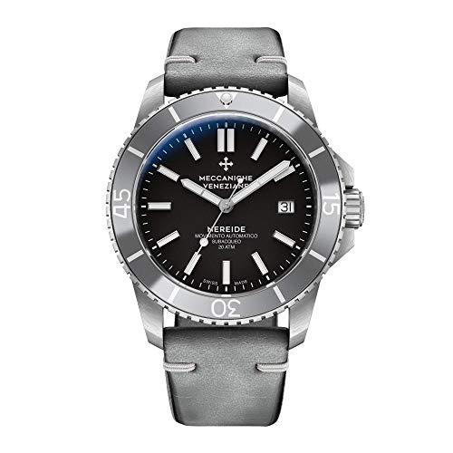 Meccaniche Veneziane Men's Automatic Mechanical Diver Watch with Vintage Leather Strap Nereide 3.0 Silver 1202008 Swiss - Incabloc Swiss