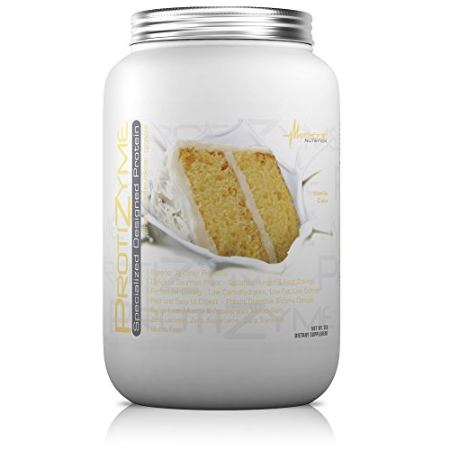 Metabolic Nutrition, Protizyme, 100% Whey Protein Powder, High Protein, Low Carb, Low Fat Whey Protein, Digestive Enzymes, 24 Essential Vitamins and Minerals, Vanilla Cake, 2 Pound (26 ser) - Protein Vanilla Cake