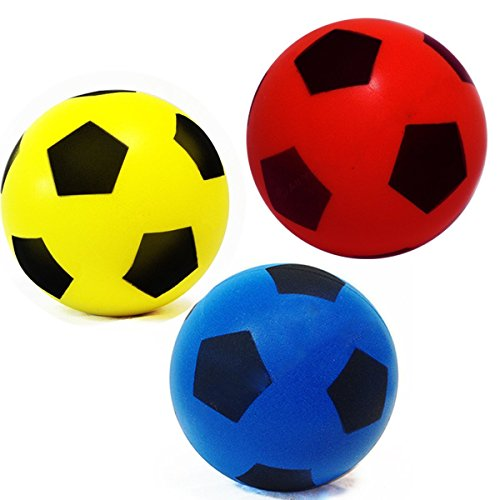 Pack of Three 20cm (size 5) E-Deals Soft Foam Sponge Indoor Outdoor Football Soccer Ball - (Pack Includes 1 Blue, 1 Red and 1 Yellow )